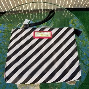 BETSY JOHNSON WRIST BAG BLACK and WHITE stripes